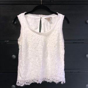 Women's Banana Republic White Lace Top